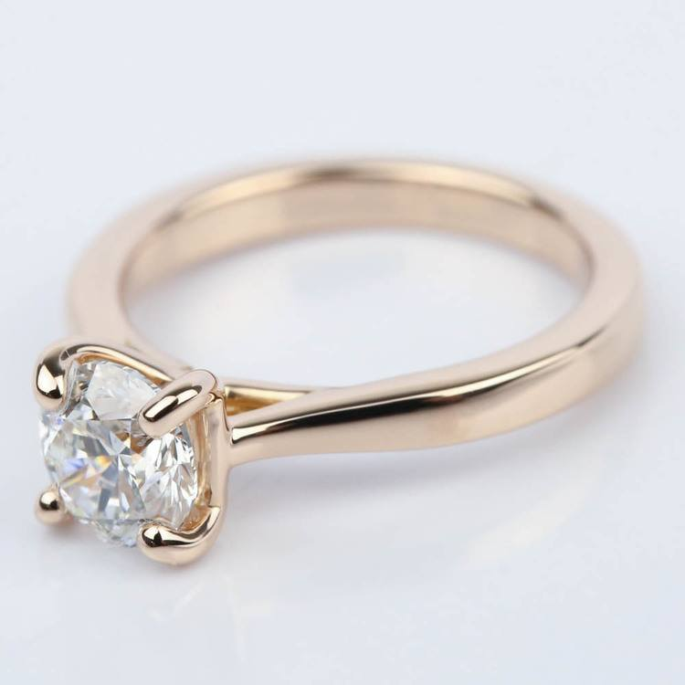 1 Carat Diamond Engagement Ring in 18K Rose Gold angle 2