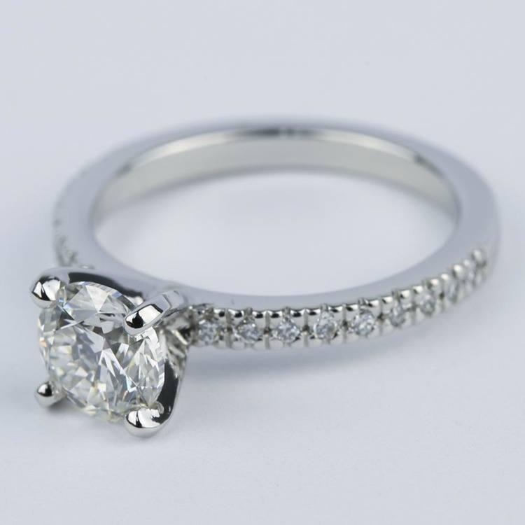 1 Carat Diamond Ring with Platinum Pave Setting angle 2