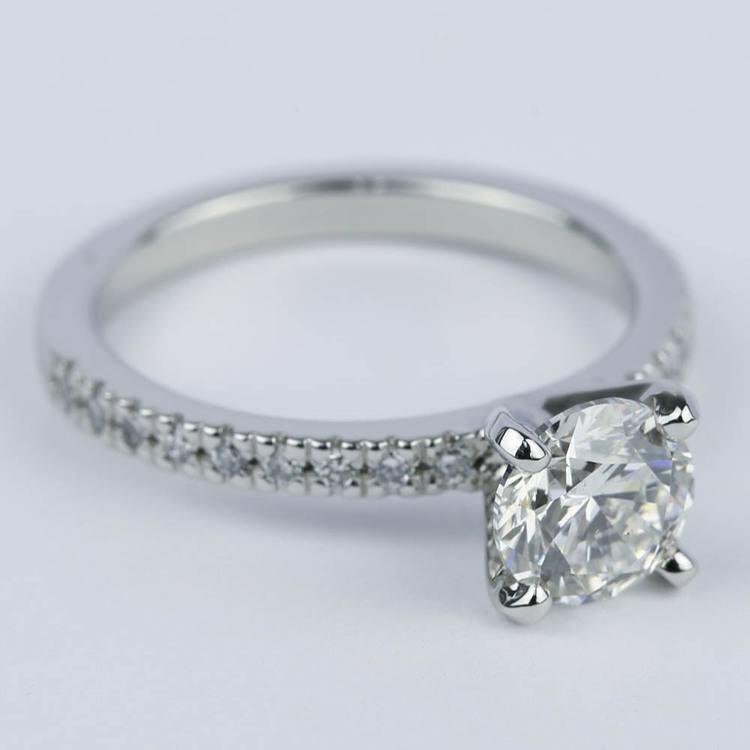 1 Carat Diamond Ring with Platinum Pave Setting angle 3