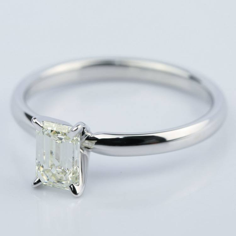 1 Carat Emerald Cut Diamond Engagement Ring angle 2