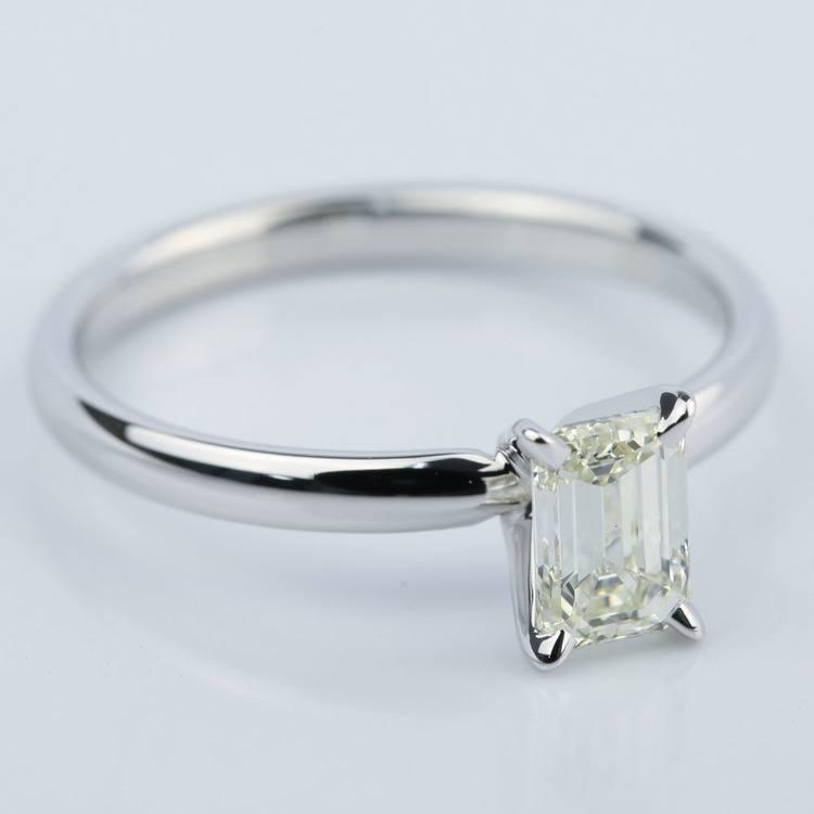 1 Carat Emerald Cut Diamond Engagement Ring angle 3