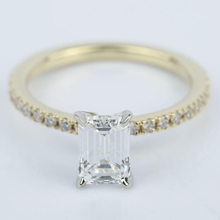 1 Carat Emerald Diamond with Petite Pave Engagement Ring