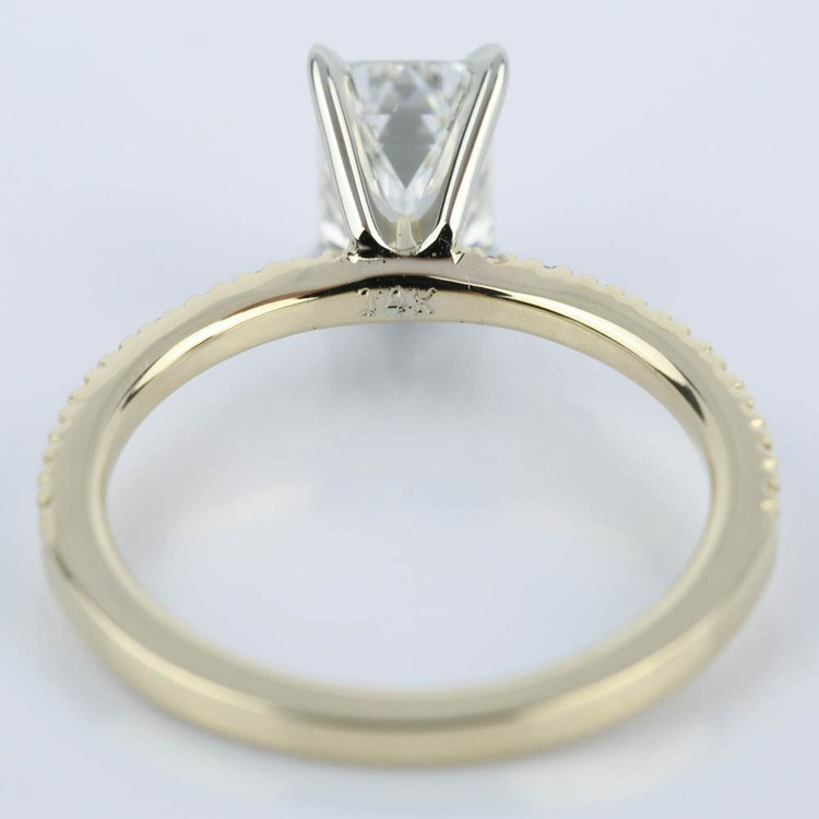 1 Carat Emerald Diamond with Petite Pave Engagement Ring angle 4