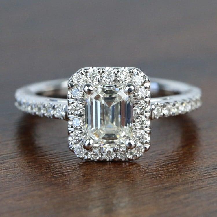 1 Carat Emerald Square Halo Diamond Engagement Ring