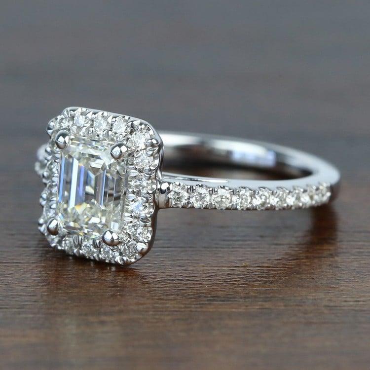 1 Carat Emerald Square Halo Diamond Engagement Ring angle 2