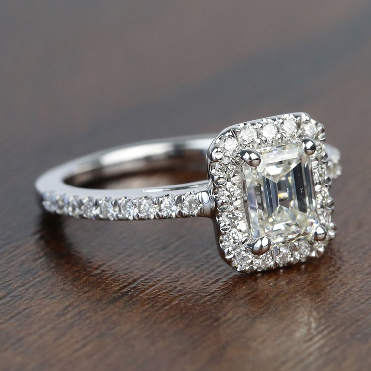1 Carat Emerald Square Halo Diamond Engagement Ring angle 3