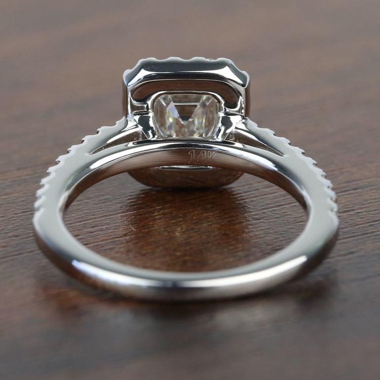 1 Carat Emerald Square Halo Diamond Engagement Ring angle 4