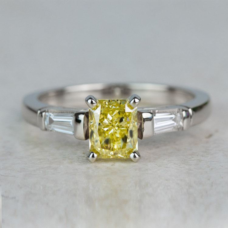 1 Carat Fancy Yellow Diamond Baguette Engagement Ring In White Gold