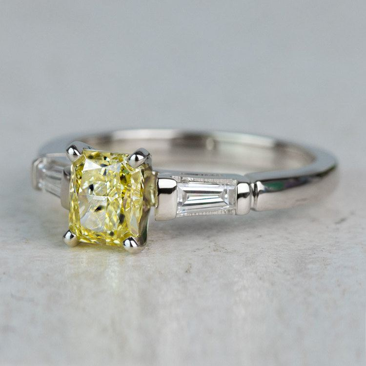 1 Carat Fancy Yellow Diamond Baguette Engagement Ring In White Gold angle 2