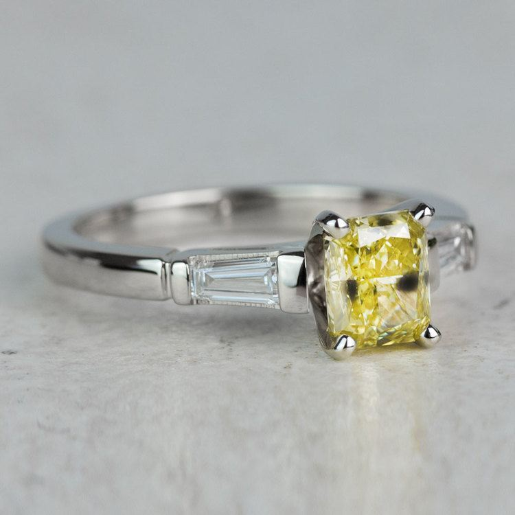 1 Carat Fancy Yellow Diamond Baguette Engagement Ring In White Gold angle 3