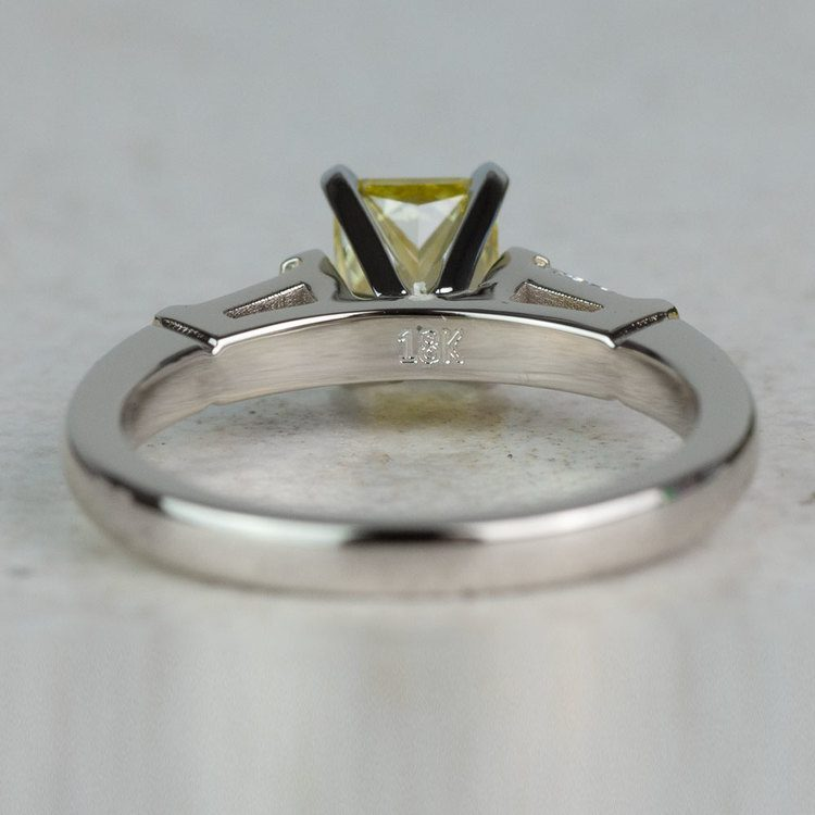 1 Carat Fancy Yellow Diamond Baguette Engagement Ring In White Gold angle 4