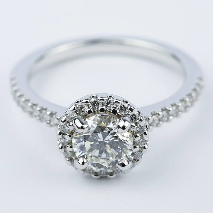 1 Carat Halo Diamond Engagement Ring in 18K White Gold