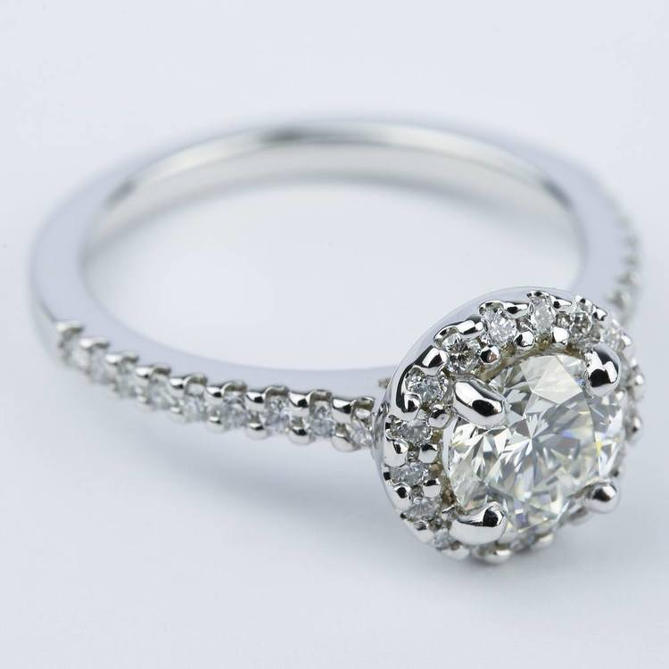 1 Carat Halo Diamond Engagement Ring in 18K White Gold angle 3