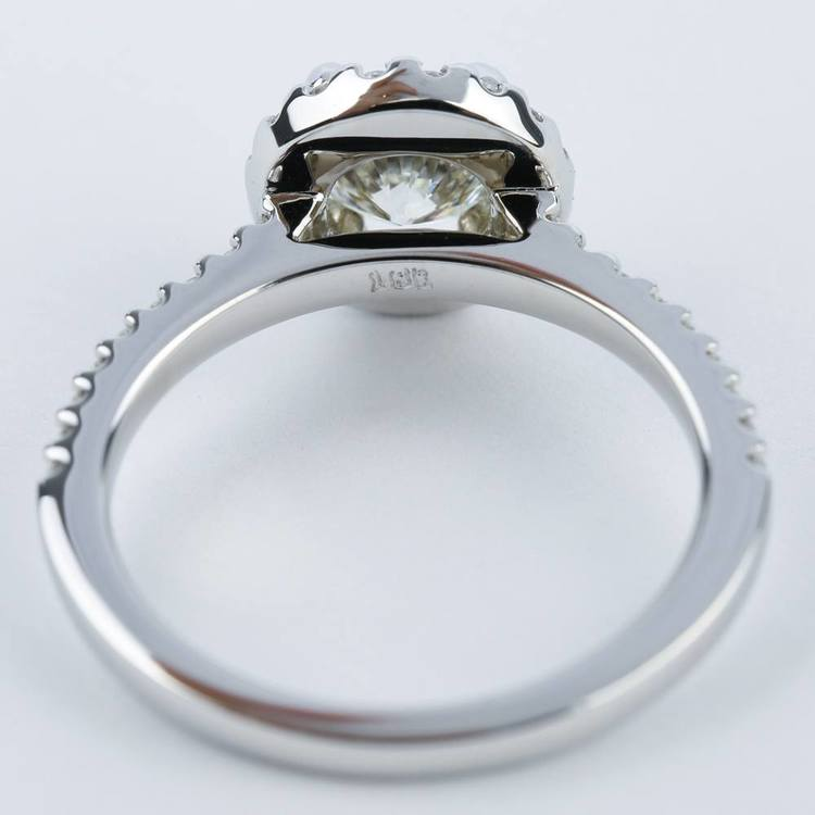 1 Carat Halo Diamond Engagement Ring in 18K White Gold angle 4