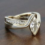 1 Carat Marquise Bezel Diamond Bridge Engagement Ring - small angle 3