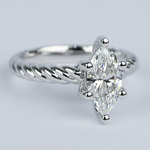1 Carat Marquise Twisted Rope Diamond Engagement Ring - small angle 3