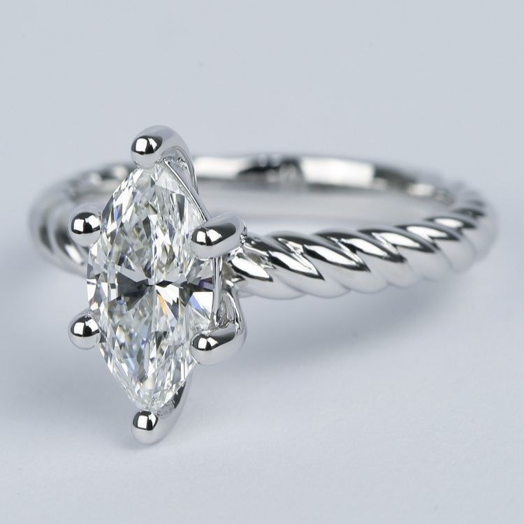 1 Carat Marquise Twisted Rope Diamond Engagement Ring angle 2