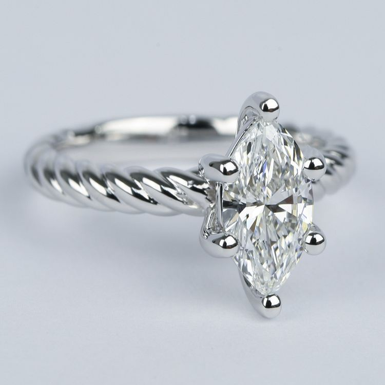 1 Carat Marquise Twisted Rope Diamond Engagement Ring angle 3