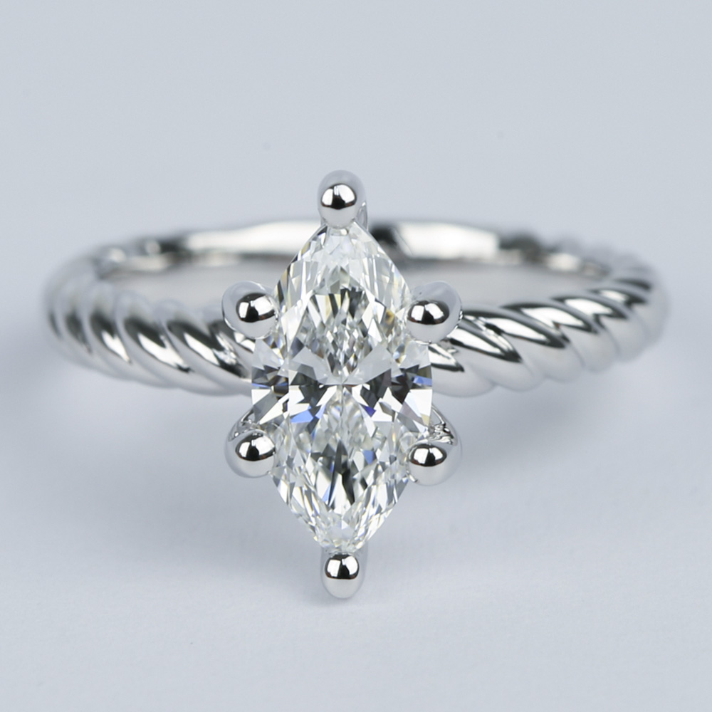 1 Carat Marquise Twisted Rope Diamond Engagement Ring