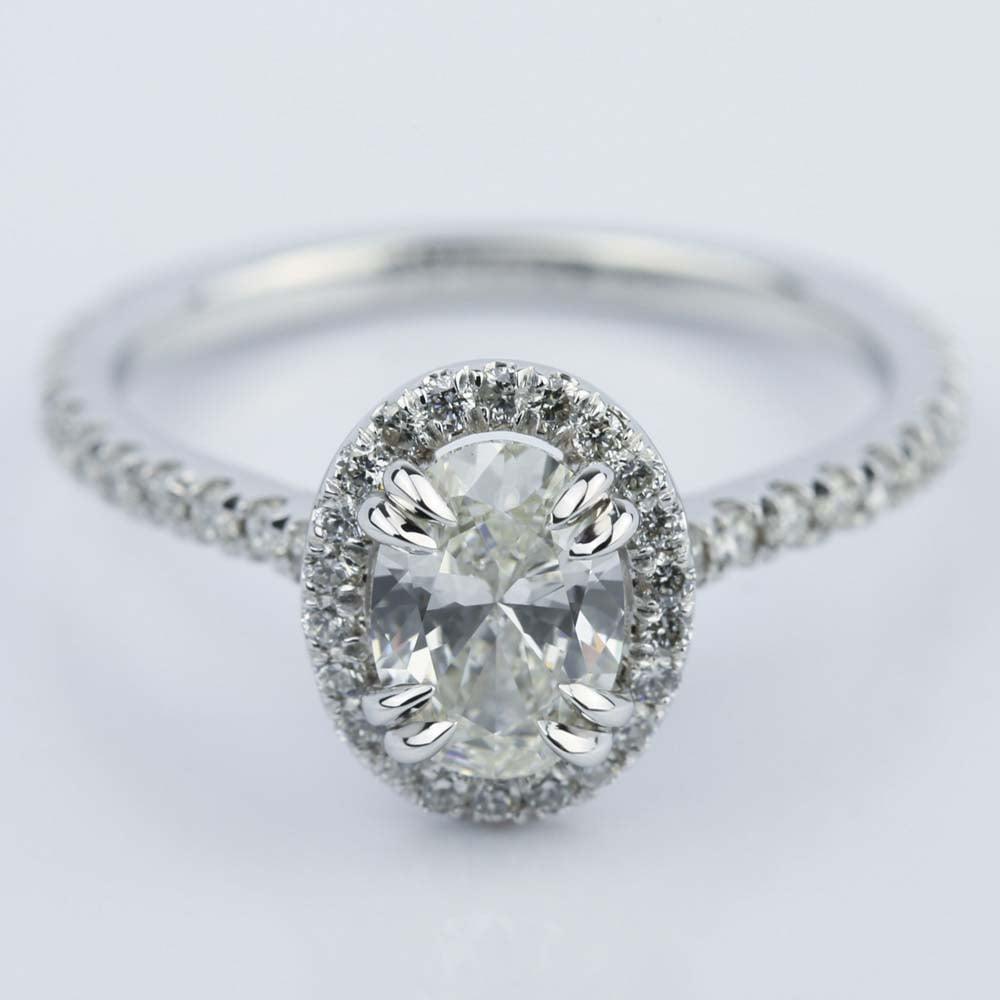 1 Carat Oval Cut Diamond Halo Engagement Ring