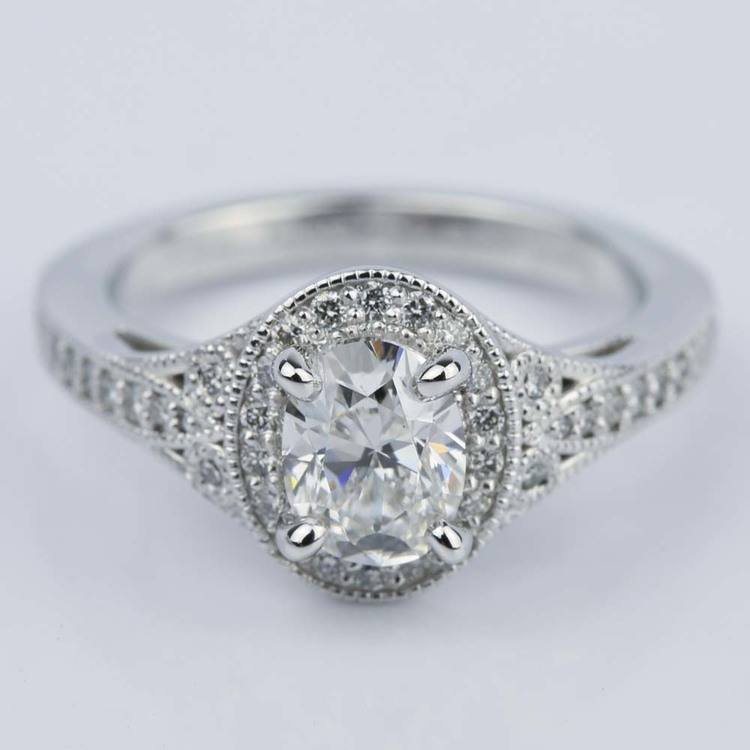 1 Carat Oval Diamond Art Deco Engagement Ring