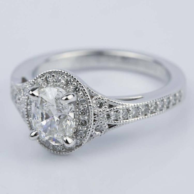 1 Carat Oval Diamond Art Deco Engagement Ring angle 2