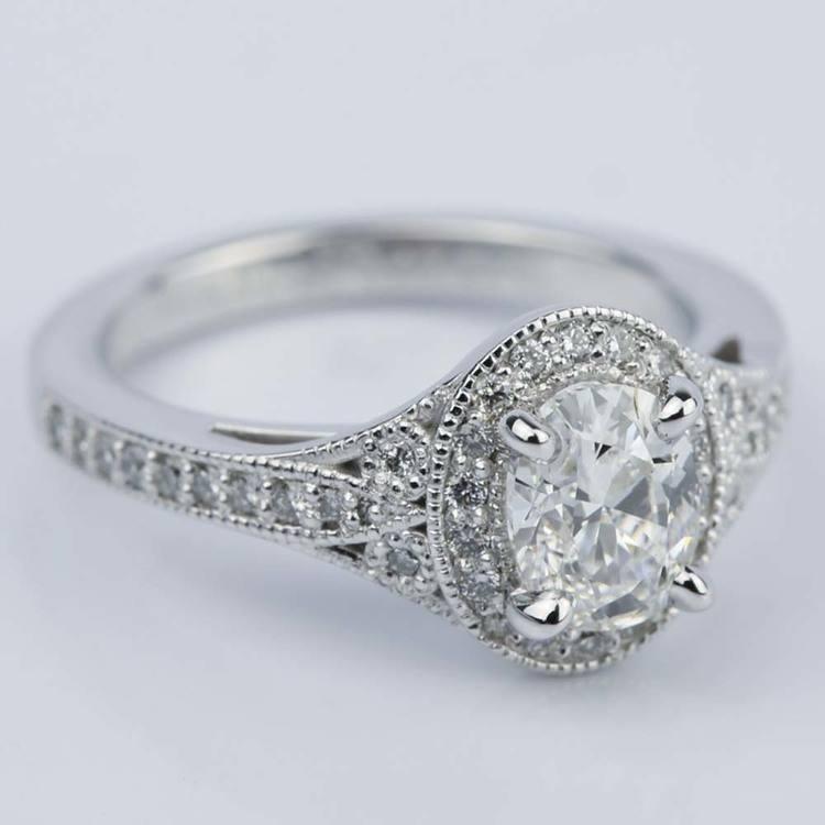 1 Carat Oval Diamond Art Deco Engagement Ring angle 3
