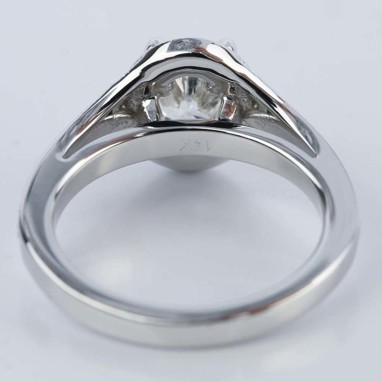 1 Carat Oval Diamond Art Deco Engagement Ring angle 4