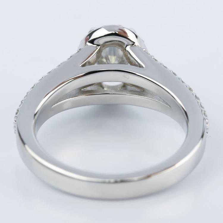 1 Carat Oval Diamond Halo Split-Shank Engagement Ring angle 4