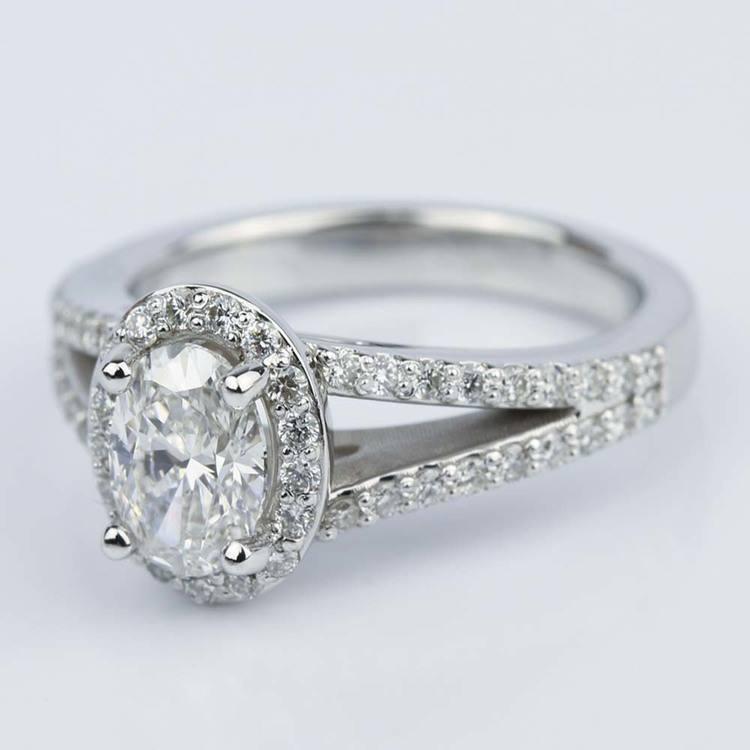 1 Carat Oval Diamond Halo Split-Shank Engagement Ring angle 2