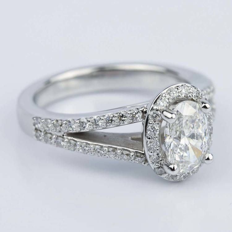 1 Carat Oval Diamond Halo Split-Shank Engagement Ring angle 3