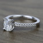 1 Carat Oval Scallop Diamond Engagement Ring - small angle 2
