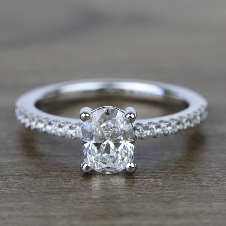 1 Carat Oval Scallop Diamond Engagement Ring