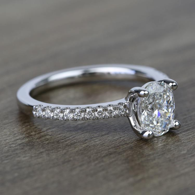 1 Carat Oval Scallop Diamond Engagement Ring angle 3