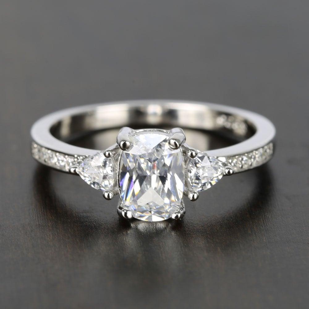 Custom Oval Amp Trillion Cut Diamond Engagement Ring 1 Carat