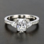 Custom Oval & Trillion Cut Diamond Engagement Ring (1 Carat) - small