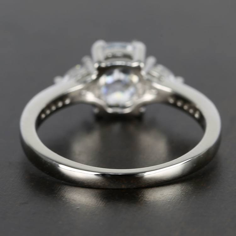 Custom Oval & Trillion Cut Diamond Engagement Ring (1 Carat) angle 4