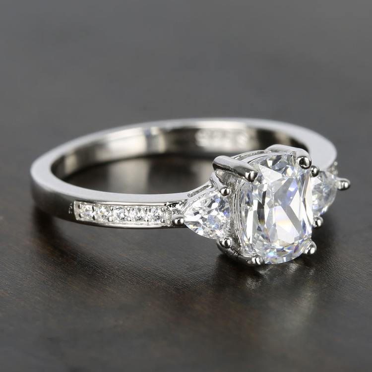 Custom Oval & Trillion Cut Diamond Engagement Ring (1 Carat) angle 3