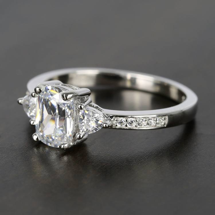 Custom Oval & Trillion Cut Diamond Engagement Ring (1 Carat) angle 2