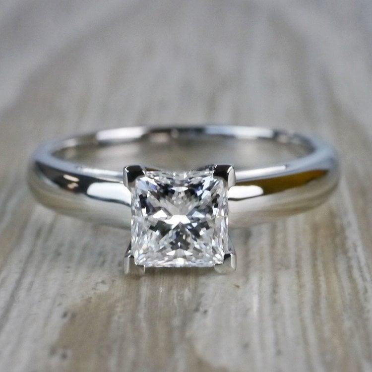 1 Carat Palladium Princess Cut Diamond Solitaire Engagement Ring