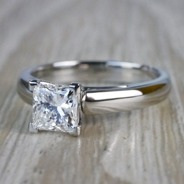 1 Carat Palladium Princess Cut Diamond Solitaire Engagement Ring angle 2