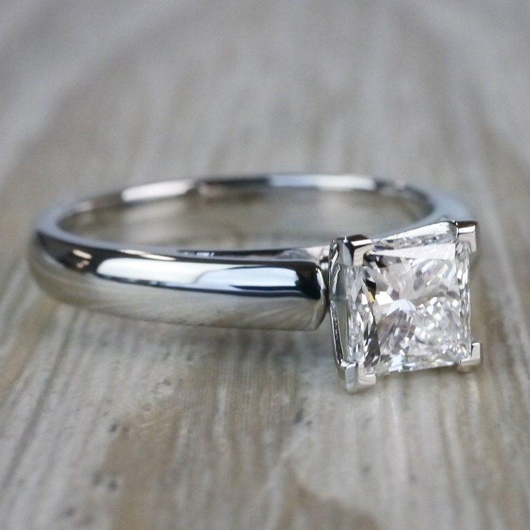 1 Carat Palladium Princess Cut Diamond Solitaire Engagement Ring angle 3