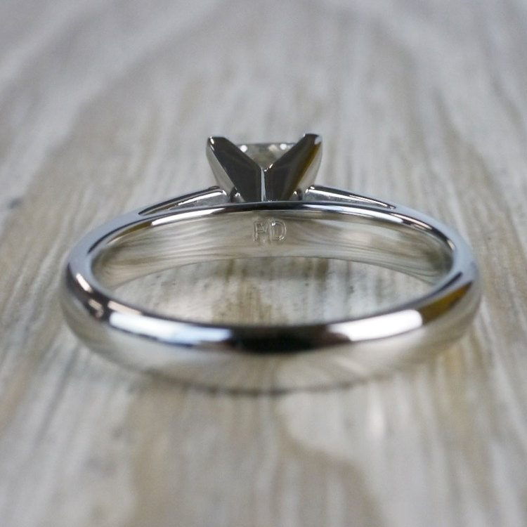 1 Carat Palladium Princess Cut Diamond Solitaire Engagement Ring angle 4