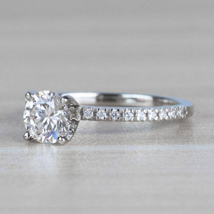1 Carat J Color Diamond with Petite Pave Diamond Ring  angle 2