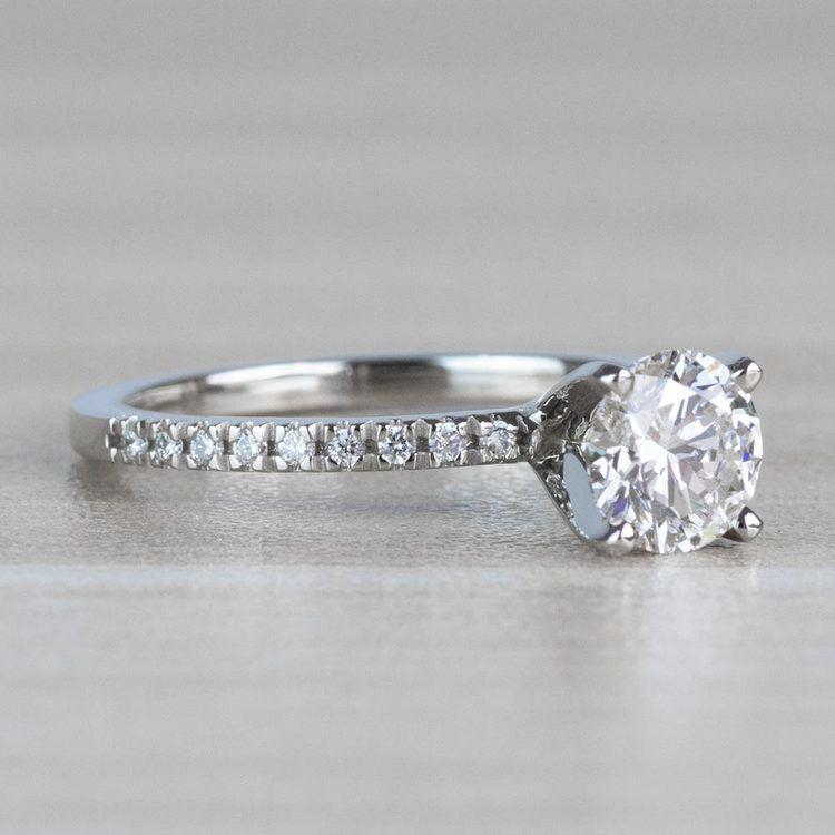 1 Carat J Color Diamond with Petite Pave Diamond Ring  angle 3