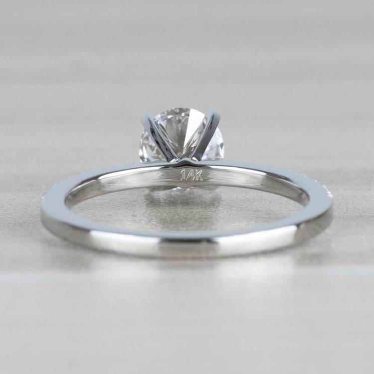 1 Carat J Color Diamond with Petite Pave Diamond Ring  angle 4