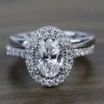 1 Carat Oval Petite Pave Halo Diamond Engagement Ring & Matching Band - small