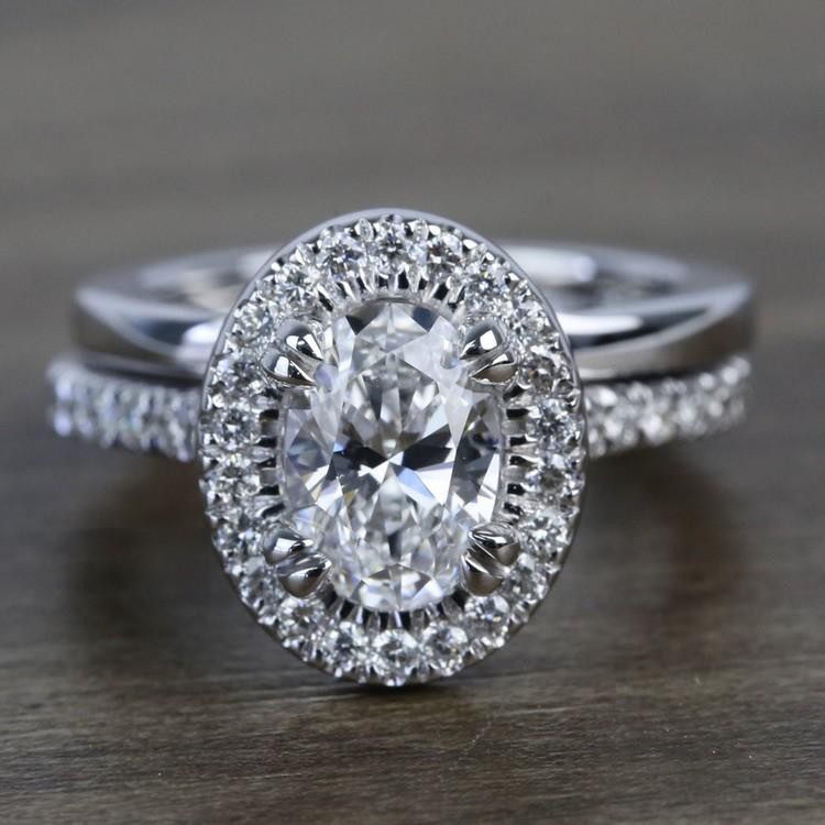 1 Carat Oval Petite Pave Halo Diamond Engagement Ring & Matching Band