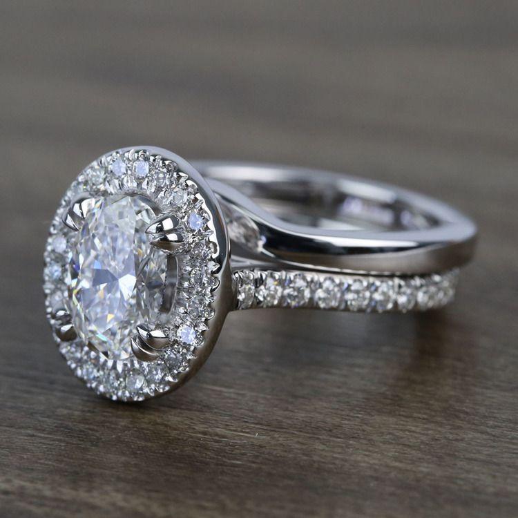1 Carat Oval Petite Pave Halo Diamond Engagement Ring & Matching Band angle 2