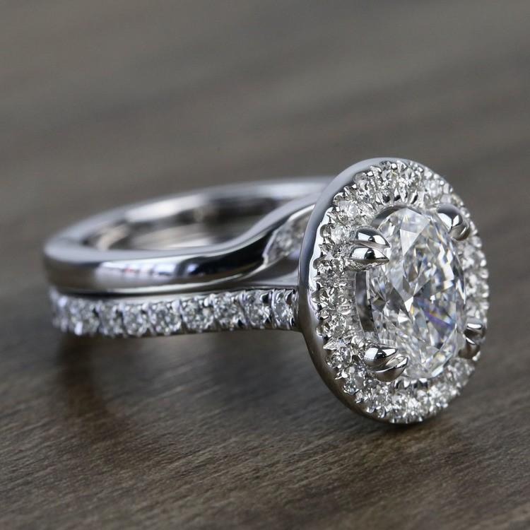 1 Carat Oval Petite Pave Halo Diamond Engagement Ring & Matching Band angle 3